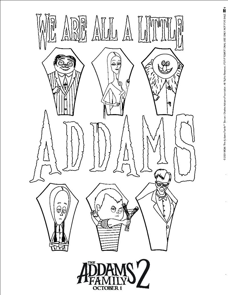 Coloring Sheets - THE ADDAMS FAMILY 2